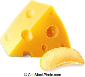 formaggio, patata, illustrazione, realistico, 3d, patatine fritte, icona