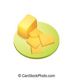 formaggio, pezzo, cheddar
