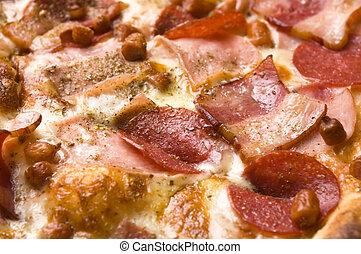 formaggio, salame, pancetta affumicata, italiano, mozzarella, pizza