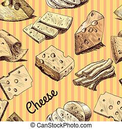formaggio, schizzo, carta da parati, seamless