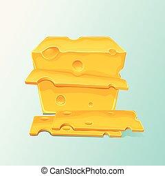 formaggio, taglio, appartamento, giallo, grande, pieces., vettore, illustrazione, pezzo, cartone animato, icona