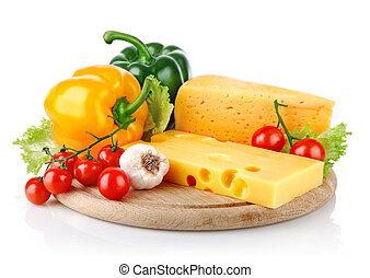 formaggio, verdura, giallo, fresco