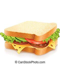 formaggio, verdura, panino, appetitoso