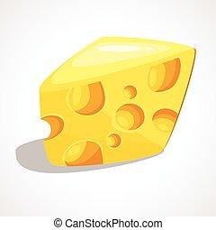 formaggio, vettore, illustrazione, pezzo