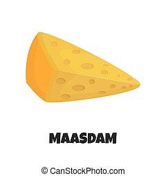 formaggio, vettore, realistico, illustrazione, maasdam