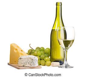 formaggio, vino, natura morta