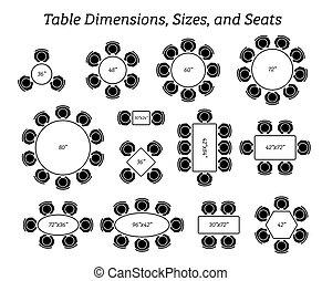 formati, rettangolare, dimensioni, rotondo, ovale, tavola, seating.