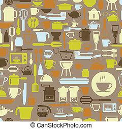 formato, modello, seamless, colorare, vettore, retro, attrezzi, cucina