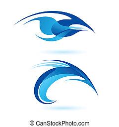forme, astratto, liscio, blue.