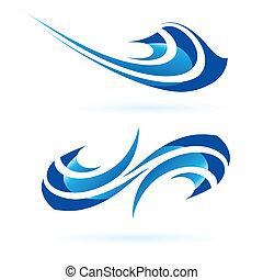forme, blu, astratto, liscio