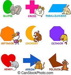 forme, geometrico, animali, cartone animato, fondamentale