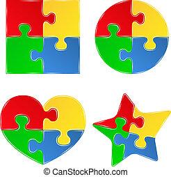 forme, puzzle, jigsaw, vettore, pezzi