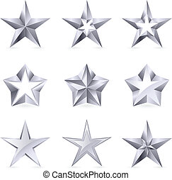 forme, tipi, differente, argento, stelle
