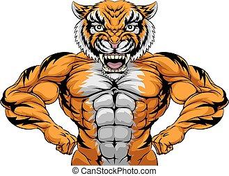 forte, mascotte, tiger, sport