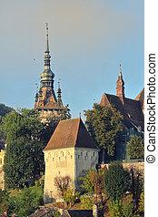 fortezza, saxon, sighisoara, vista, medievale