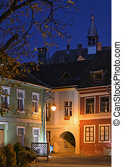 fortezza, saxon, sighisoara, vista, notte, transylvania, medievale