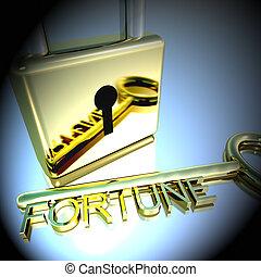 fortuna, successo, lucchetto, esposizione, interpretazione, chiave, fortuna, 3d