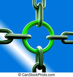 forza, catena, verde, collegamento, sicurezza, mostra