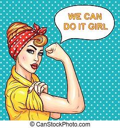 forza, lei, casalinga, donna, attraente, dimostrare, pop, fiducioso, arte