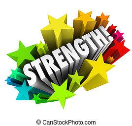forza, parola, abilità, vantaggio, competitivo, stelle, forte