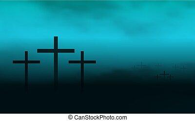 foschia, silhouette, crocifissi