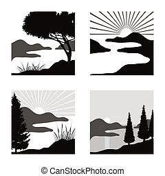 fot, stilizzato, uso, pictograms, costiero, illustrazioni, paesaggio