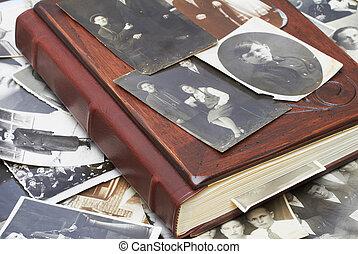 foto, album, famiglia, vendemmia