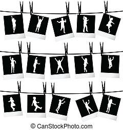 foto, collezione, corda, silhouette, appendere, cornici, bambini