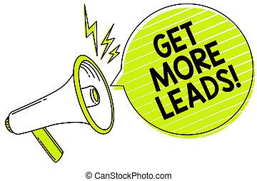 foto, giallo, strategia, altoparlante, scrittura, message., discorso, testo, concettuale, seguaci, megafono, bolla, più, clienti, affari, ottenere, marketing, esposizione, nuovo, mano, importante, leads., sguardo, clienti