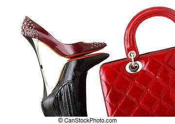 foto, moda, scarpe, borsetta