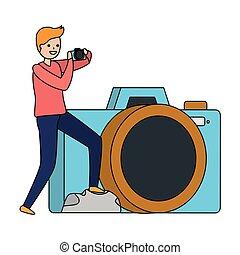 foto, presa, uomo macchina fotografica