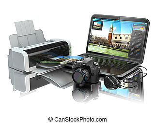 foto, printer., laptop, macchina fotografica, preparare, immagini, print.