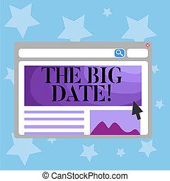 foto, rapporto affari, grande, coppia, scrittura, anniversary., importante, testo, matrimonio, concettuale, mano, esposizione, giorno, date.
