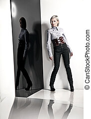 foto, stile, moda, signora, giovane