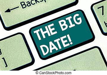 foto, tastiera computer, messaggio, relazione, creare, anniversario, scrittura, intention, testo, concettuale, esposizione, date., affari, grande, coppia, mano, importante, chiave, giorno matrimonio, idea.