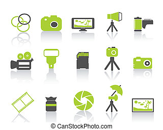 fotografia, serie, verde, icona, elemento