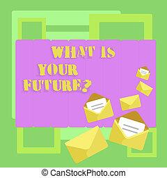 fotografie a colori, futurequestion., anni, vedere, scrittura, aperto, tuo, cosa, prossimo, stationery., buste, testo, concettuale, lei, chiuso, affari, esposizione, mano, lettera, te stesso, dove