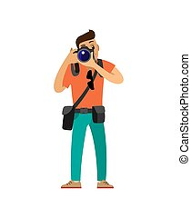 fotografo, presa, macchina fotografica, foto, digitale