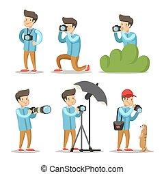 fotografo, set., carattere, illustrazione, vettore, macchina fotografica., foto, cartone animato, uomo