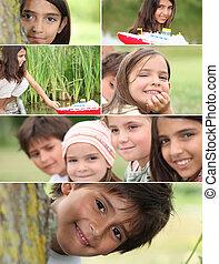 fotomontaggio, bambini, parco, gioco