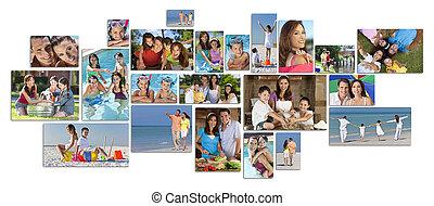 fotomontaggio, felice, stile di vita, famiglia, due, genitori, bambini, &
