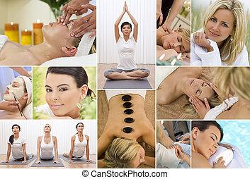 fotomontaggio, rilassante, donne, terme salute