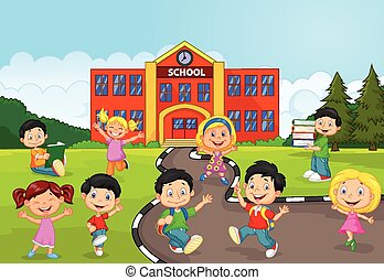 fr, felice, bambini, cartone animato, scuola