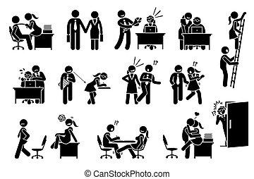 fra, relazione, ufficio, affare, flirting, amore, workers., co
