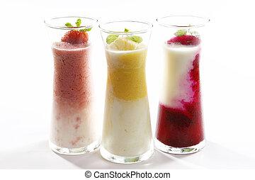 fragola, foglie, succoso, frutta, vetro, mango, fondo, bianco, menta