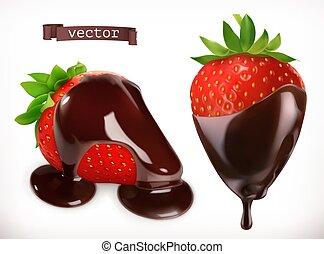 fragola, realistico, vettore, chocolate., 3d, icona