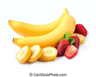 fragola, succoso, banane