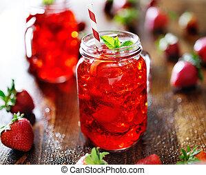 fragola, vaso, vivido, cocktail, rosso