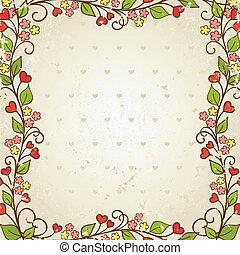 frame., illustration., vettore, floreale