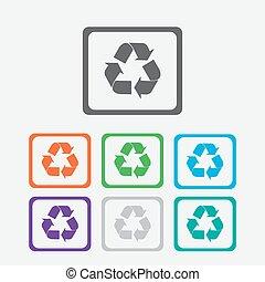 frame., simbolo., bottoni, vettore, riciclare, icon., squadre, rotondo
